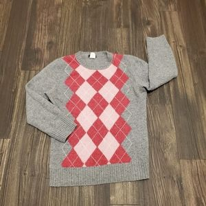 J. Crew 3/4 Sleeve Wool Argyle Sweater